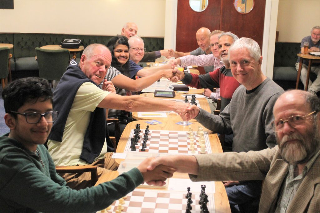 Chandlers Ford C and B teams shake hands prior to match 26th September 2018.