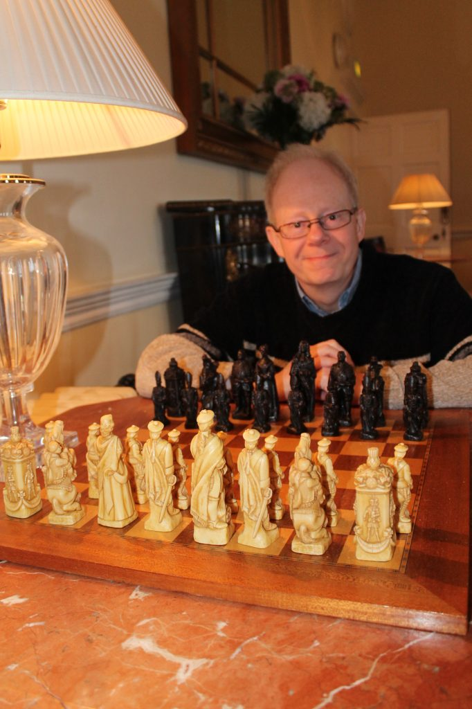 Keven Lamb with decorative chess set