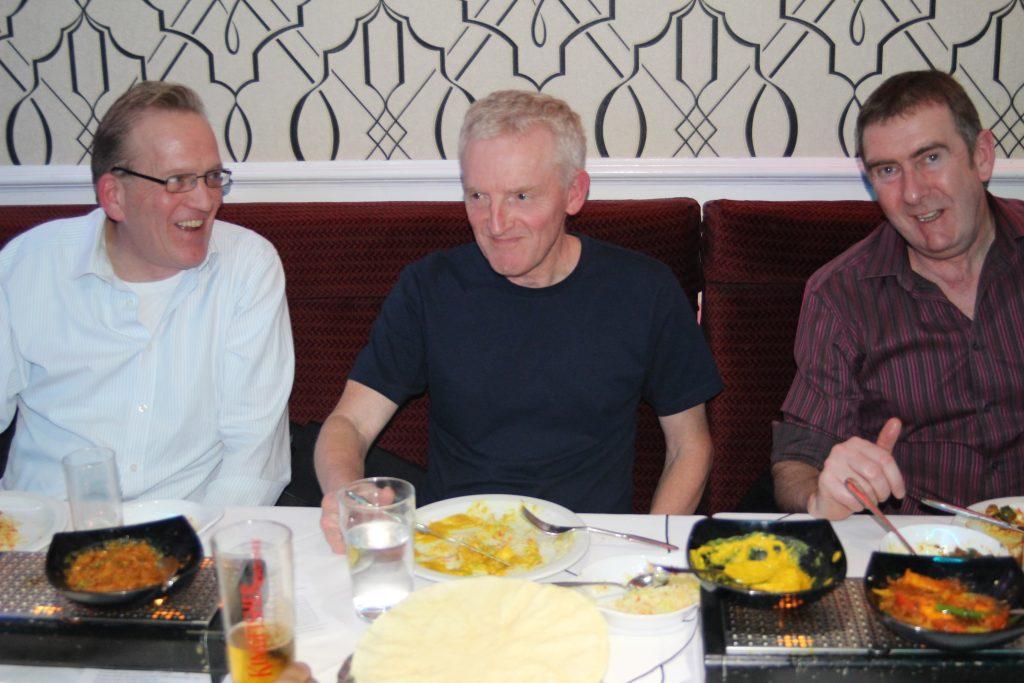 Simon Kay, Dave Holmes and David Culliford at 2018 Christmas dinner