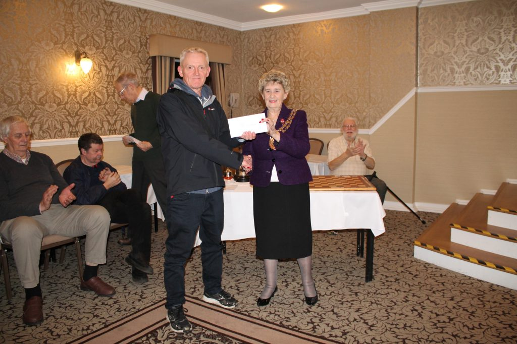Dave Holmes is presented with joint 2nd prize at Hampshire Congress
