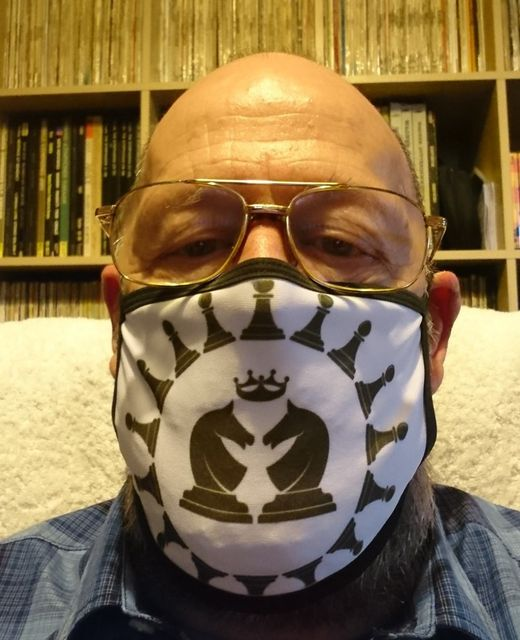 Peter Przybycin wearing chess mask