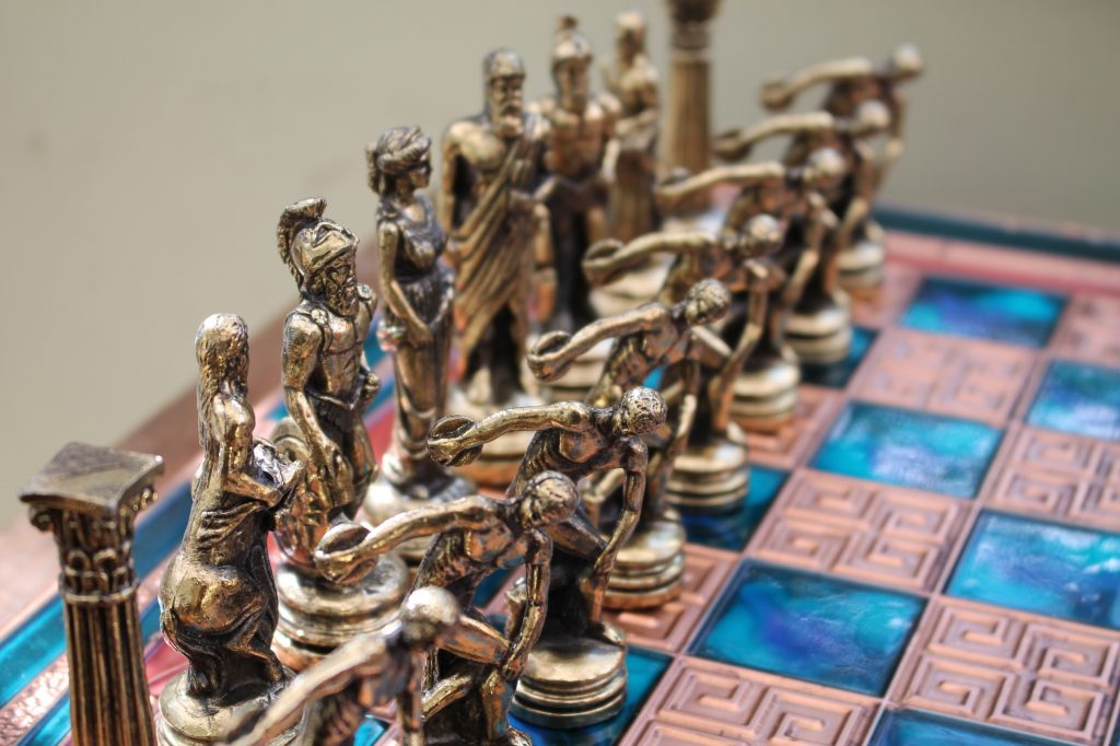 Classic antiquity style chess set