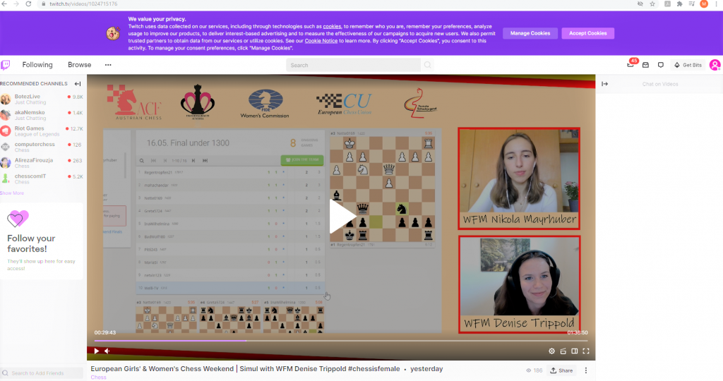 Screen shot (Twitch) of online commentary of Euro Girls and Women's U1300 Finals