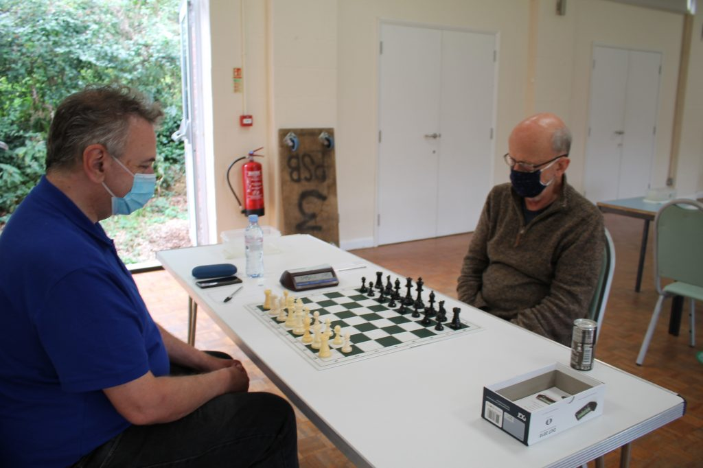 Board 1 at the Hampshire v Kent chess match 4th September 2021: Keith Nevols (Kent, left), Chris McSheehy (Hampshire, right).